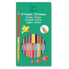Σετ με 12 διπλές ξυλομπογιές - 24 χρώματα