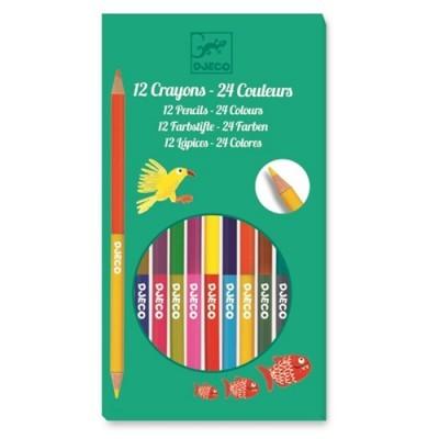 Set of 12 double coloring pencils - 24 colors
