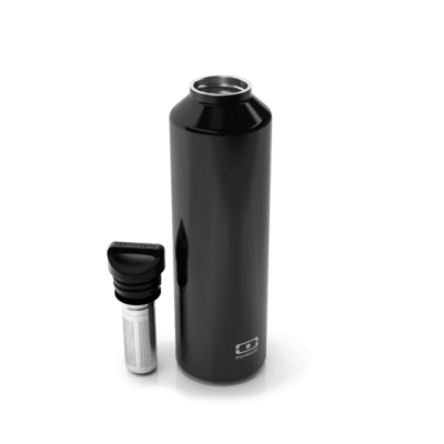 Insulated Bottle with infuser- Steel Onyx