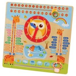 Ξύλινο ημερολόγιο τοίχου και επιτραπέζιας εκμάθησης