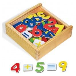 Ξύλινο κουτί με μαγνητικούς αριθμούς και σύμβολα