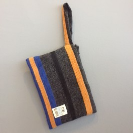 Waterproof Bag Small - Embroidered Stripes Blue Petrol