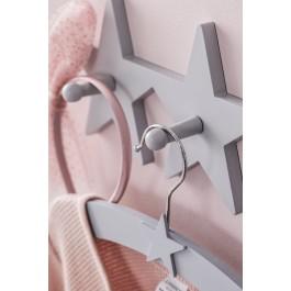 Ξύλινη κρεμάστρα τοίχου - 4 αστέρια σε γκρι χρώμα
