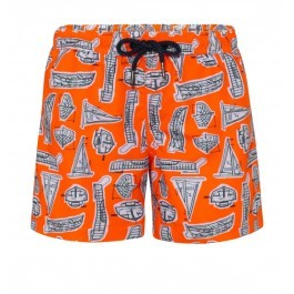 Swimshort Sunuva- Leonardo Boats Orange Neon