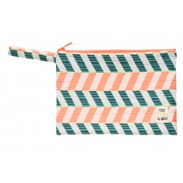 Waterproof Bag Woven - Chevron Peach