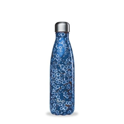 Insulated Stainless Steel Bottle - Flowers Blue - 500ml