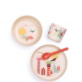Σετ φαγητού Bamboo για παιδιά - Illustrated Kid Set