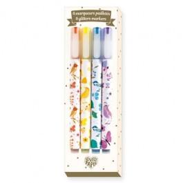 4 Glitter Markers Tinou - Djeco