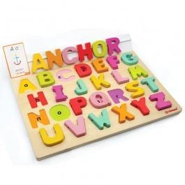 Αγγλικό ξύλινο αλφάβητο με 50 κάρτες