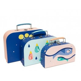 Set of 3 double faced Suitcases