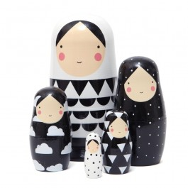 Nesting Dolls in Black and White - Extra Large