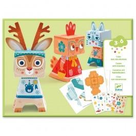 Κιτ κατασκευής - Χάρτινα χαρούμενα ζωάκια totem