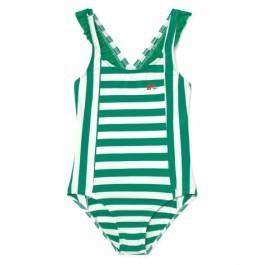 Ολόσωμο μαγιό-Green and White Stripes